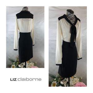 Like-New Liz Claiborne Black & White Dress